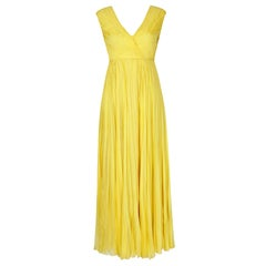1970s Ted Lapidus Lemon Yellow Pleated Chiffon Dress