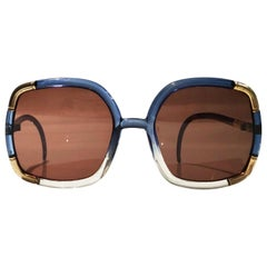 1970s Ted Lapidus oversized gols blue white sunglasses