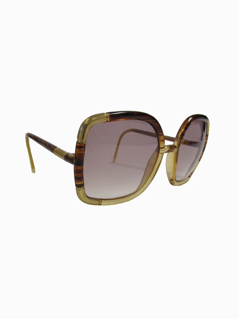 Gray 1970s Ted Lapidus Paris Gold Accented Tortoise Over-sized Sunglasses  For Sale
