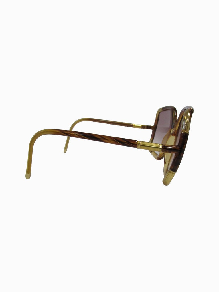 1970s Ted Lapidus Paris Gold Accented Tortoise Over-sized Sunglasses  In Excellent Condition For Sale In Houston, TX
