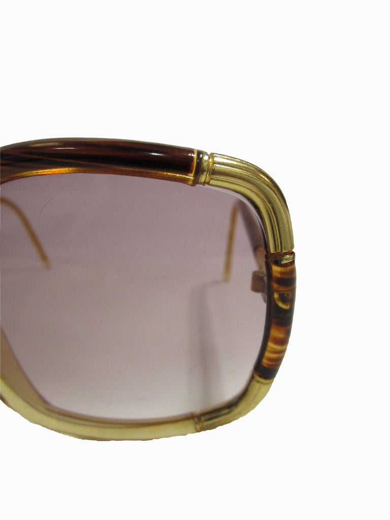 Women's 1970s Ted Lapidus Paris Gold Accented Tortoise Over-sized Sunglasses  For Sale