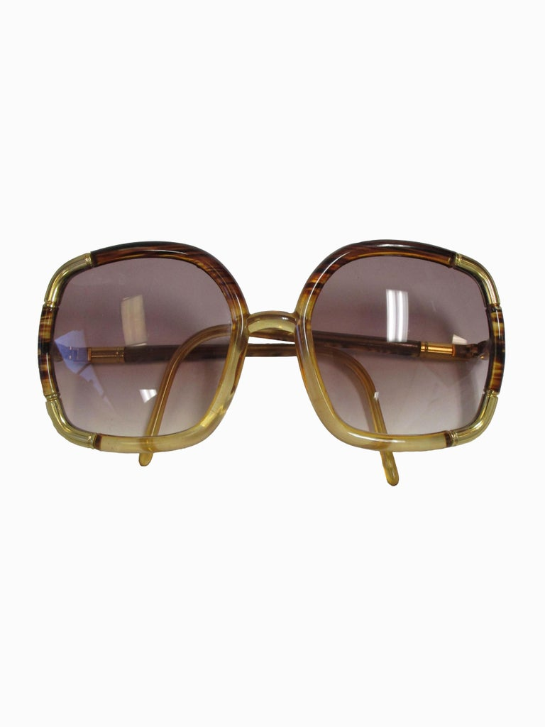 1970s Ted Lapidus Paris Gold Accented Tortoise Over-sized Sunglasses  For Sale 1