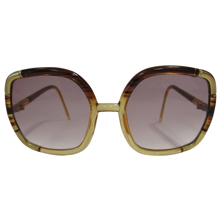 1970s Ted Lapidus Paris Gold Accented Tortoise Over-sized Sunglasses  For Sale