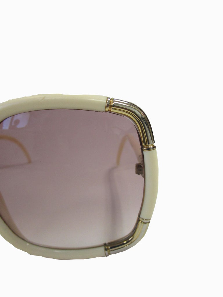 1970s Ted Lapidus Paris Ivory and Gold Hardware Over-sized Sunglasses  In Good Condition For Sale In Houston, TX