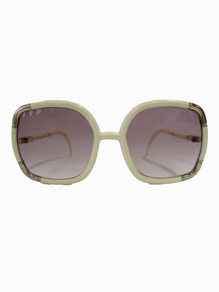 Women's 1970s Ted Lapidus Paris Ivory and Gold Hardware Over-sized Sunglasses  For Sale
