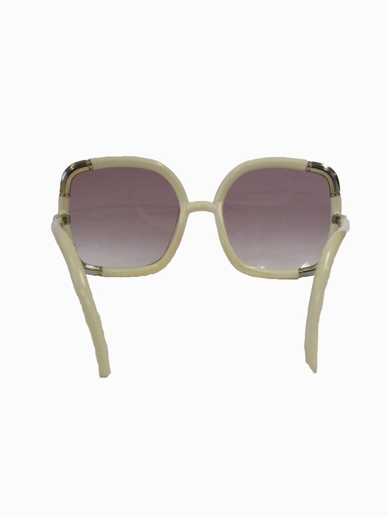1970s Ted Lapidus Paris Ivory and Gold Hardware Over-sized Sunglasses  For Sale 1
