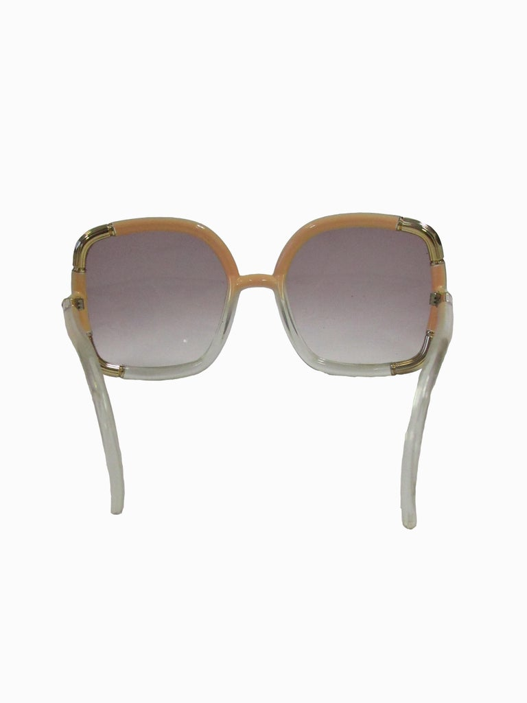 1970s Ted Lapidus Paris Nude and Clear Oversized Sunglasses  In Excellent Condition For Sale In Houston, TX