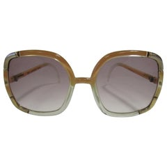 1970s Ted Lapidus Paris Nude and Clear Oversized Sunglasses