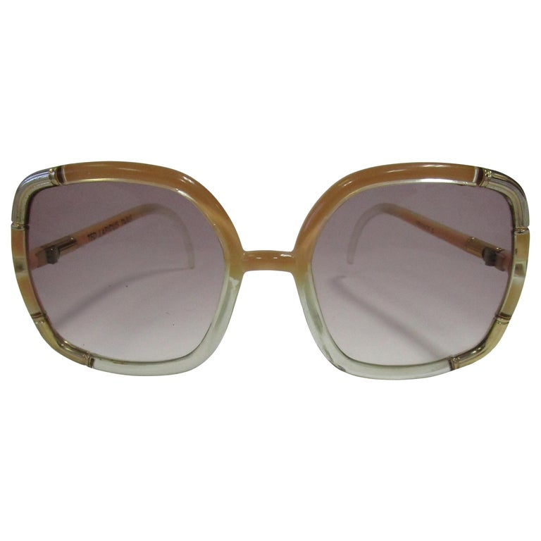 1970s Ted Lapidus Paris Nude and Clear Oversized Sunglasses  For Sale