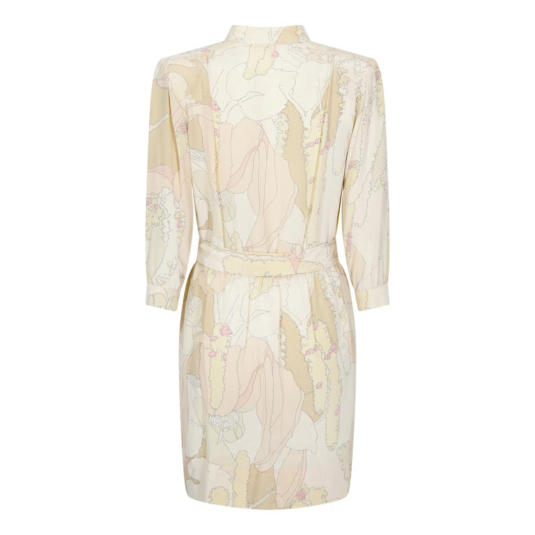 Beige 1970s Ted Lapidus Silk Shirt Dress For Sale