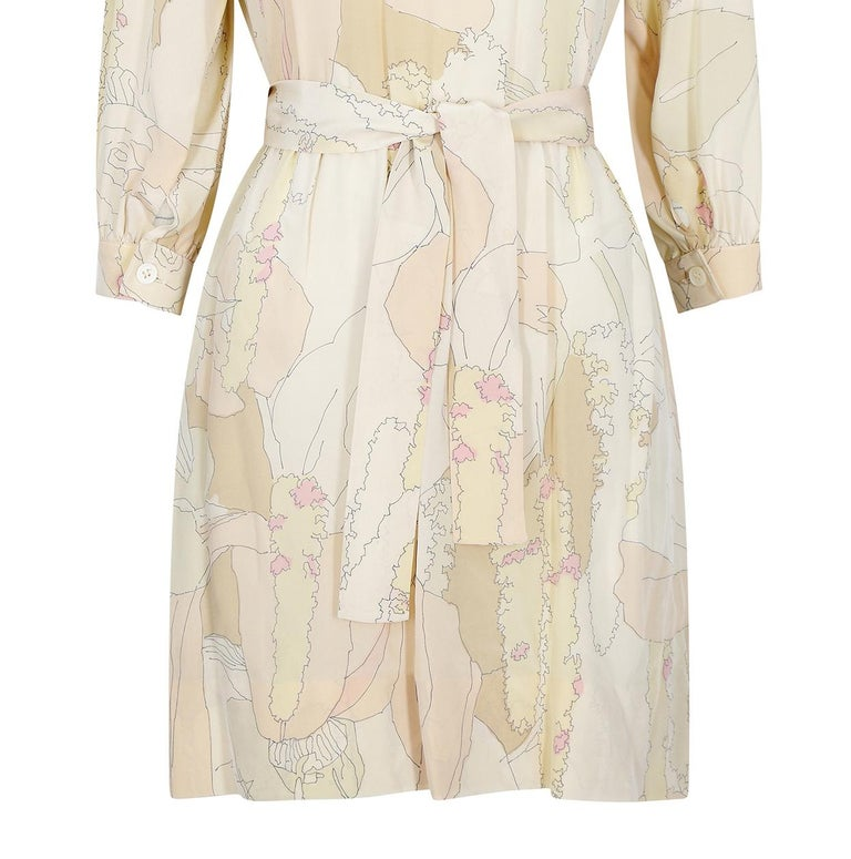 1970s Ted Lapidus Silk Shirt Dress For Sale 1