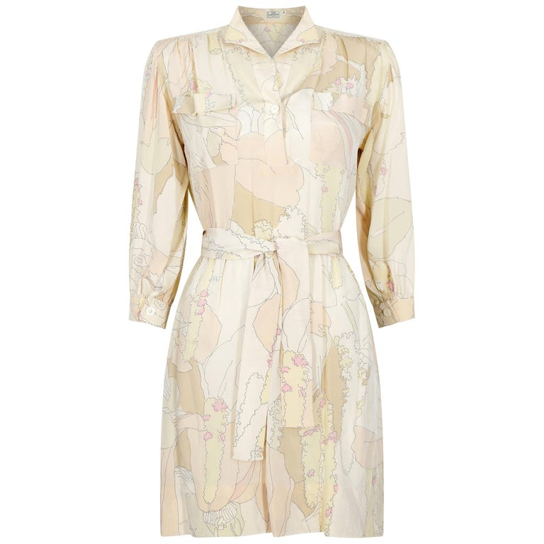 1970s Ted Lapidus Silk Shirt Dress For Sale