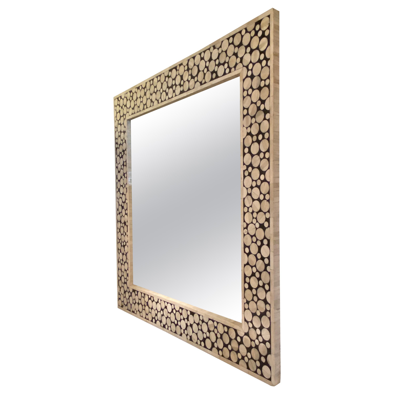 1970s Tessellated Bone Mirror by Ettiene Allemeersch