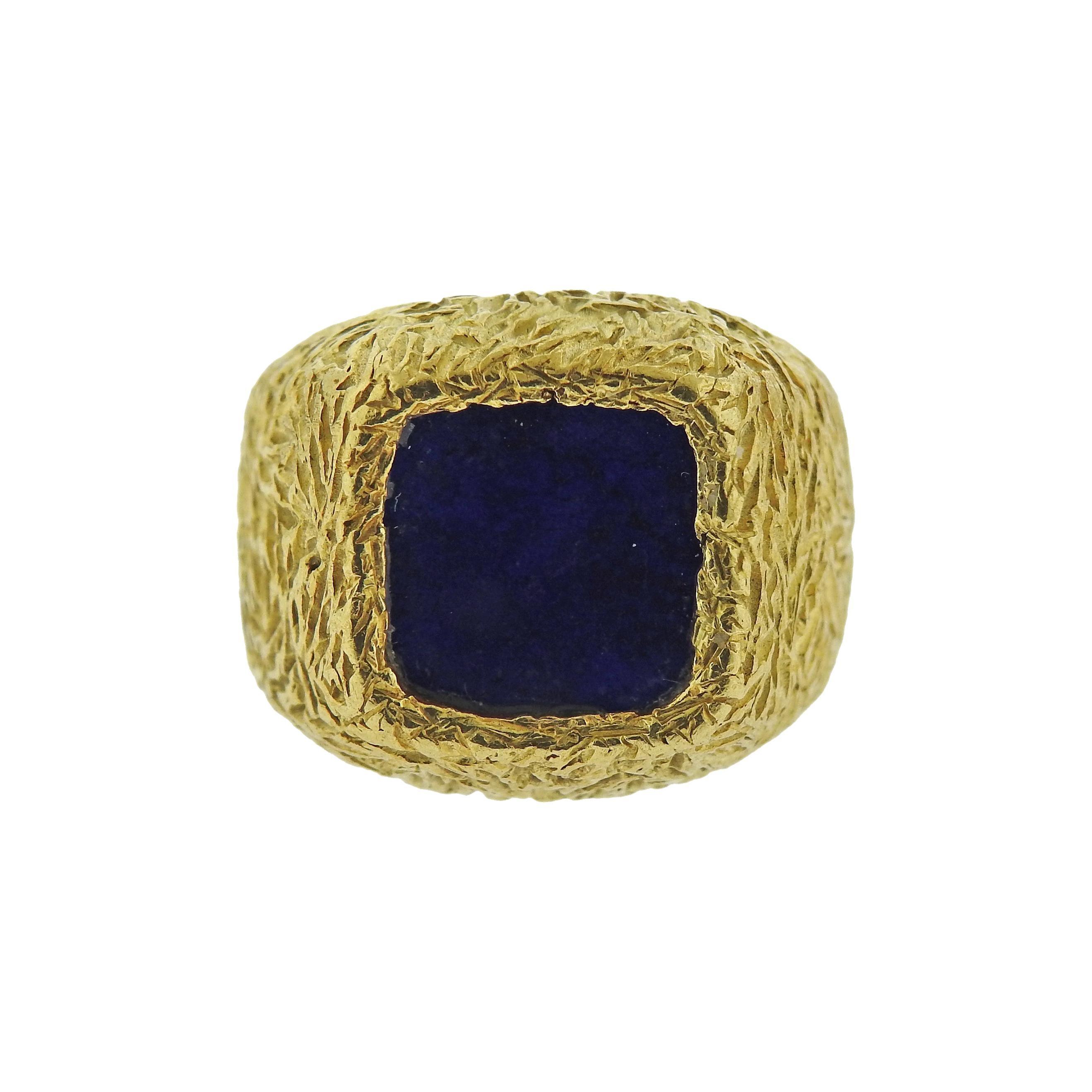 1970s Textured Gold Lapis Lazuli Ring