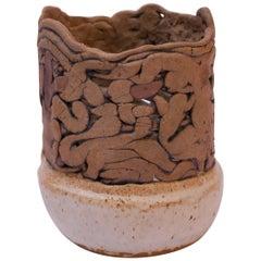 1970s Textured Stoneware Vase Signed