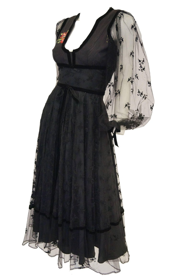 Women's 1970s Thea Porter Couture Black Lace Dress w/ Hand Painted Flowers For Sale