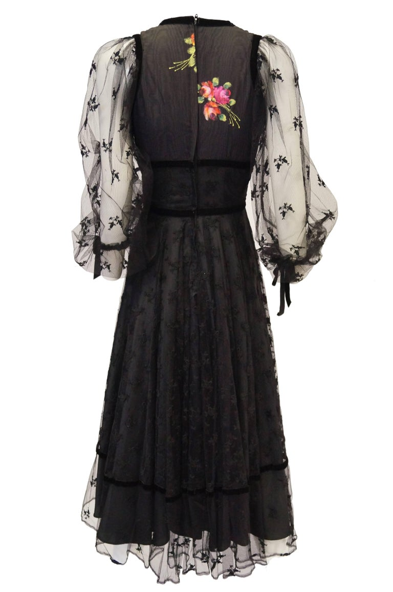 1970s Thea Porter Couture Black Lace Dress w/ Hand Painted Flowers For Sale 3