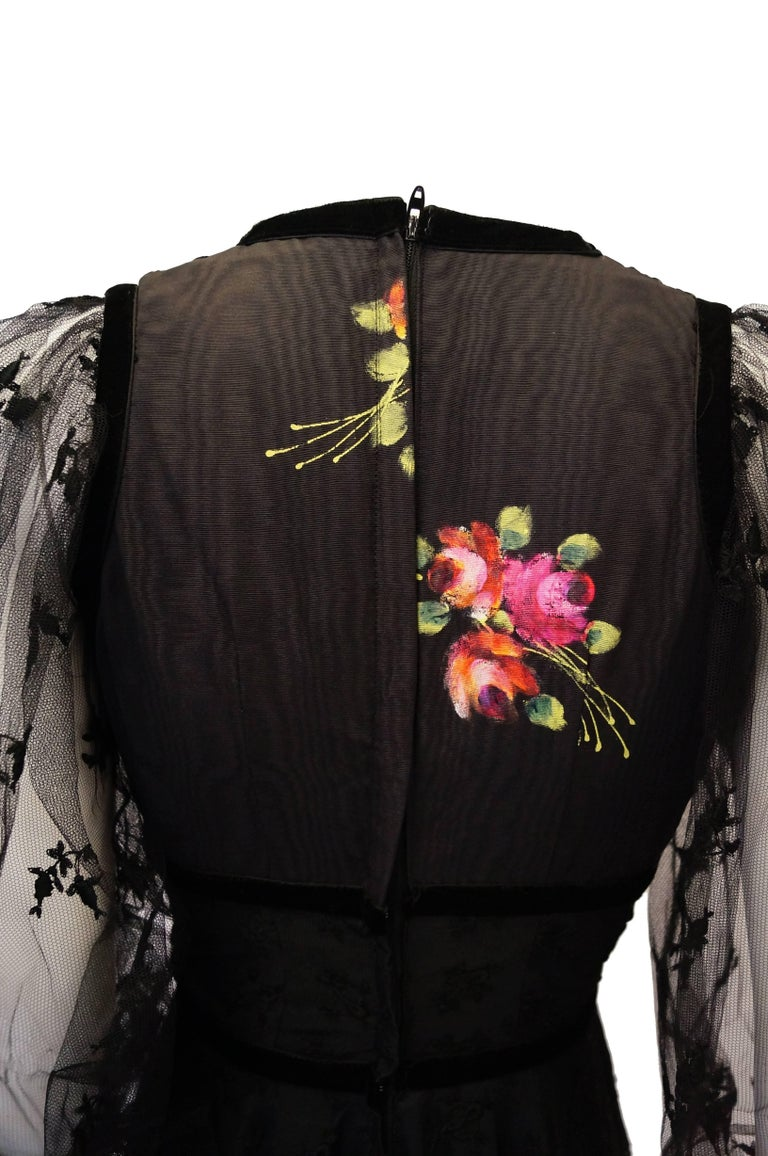 1970s Thea Porter Couture Black Lace Dress w/ Hand Painted Flowers For Sale 4