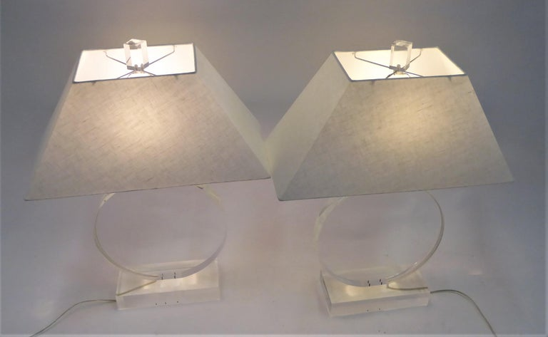 Mid-Century Modern 1970s Thick Lucite Disc Springer Style Modern Lamps Signed Marlee For Sale