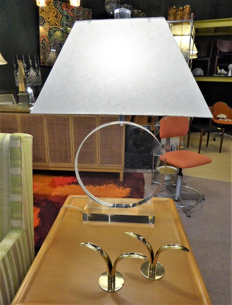 1970s Thick Lucite Disc Springer Style Modern Lamps Signed Marlee For Sale 1
