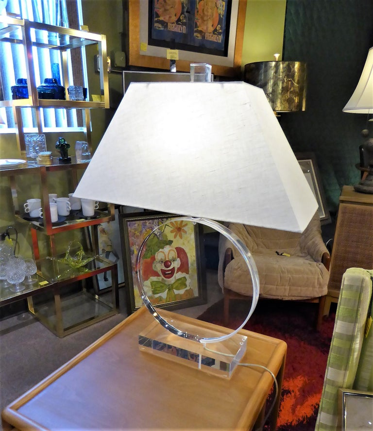 1970s Thick Lucite Disc Springer Style Modern Lamps Signed Marlee For Sale 2