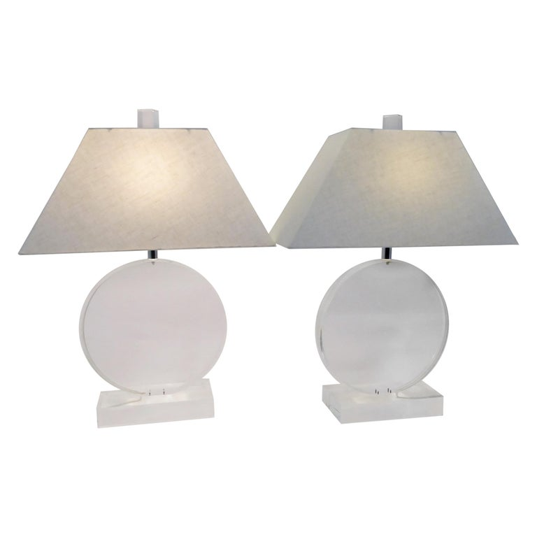 1970s Thick Lucite Disc Springer Style Modern Lamps Signed Marlee For Sale
