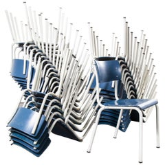 1970's Thonet Dining Chairs For The German Military - Blue - Good Qty Available