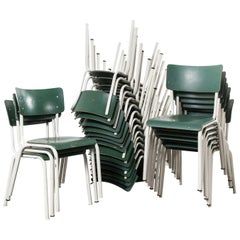 1970's Thonet Stacking Dining Chairs For The German Army - Green - Good Qty