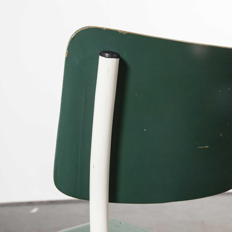 1970s Thonet Stacking Dining Chairs for the German Army, Green, Set of Eight For Sale 8