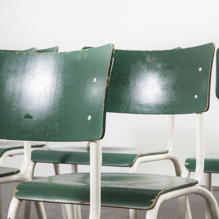 1970s Thonet Stacking Dining Chairs for the German Army, Green, Set of Eight In Good Condition For Sale In Hook, Hampshire