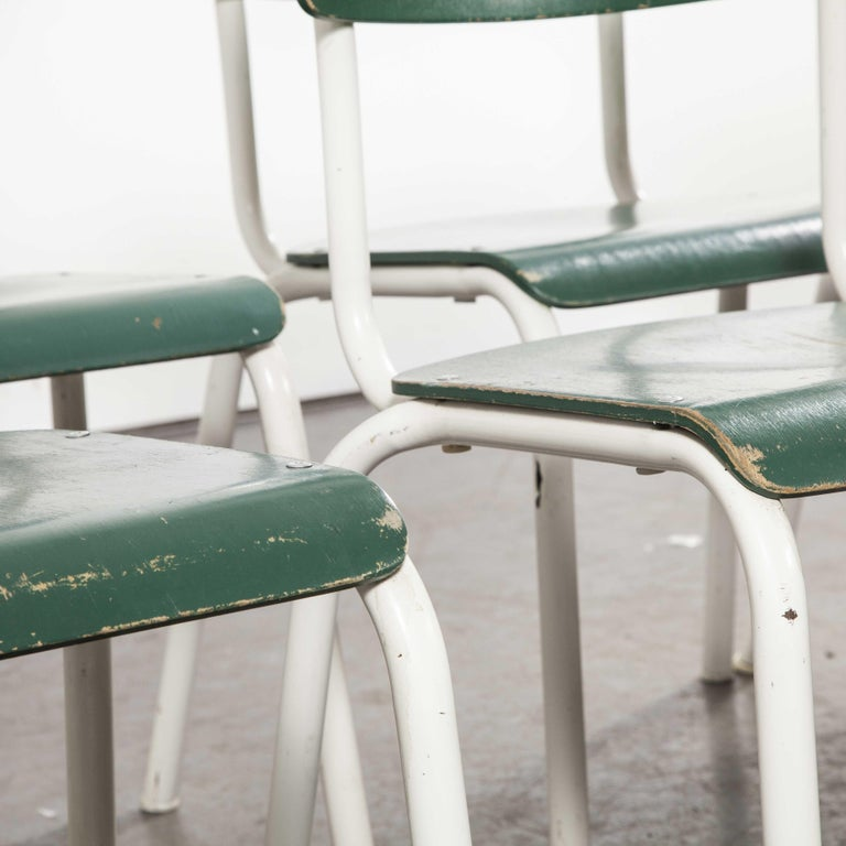 Late 20th Century 1970s Thonet Stacking Dining Chairs for the German Army, Green, Set of Eight For Sale