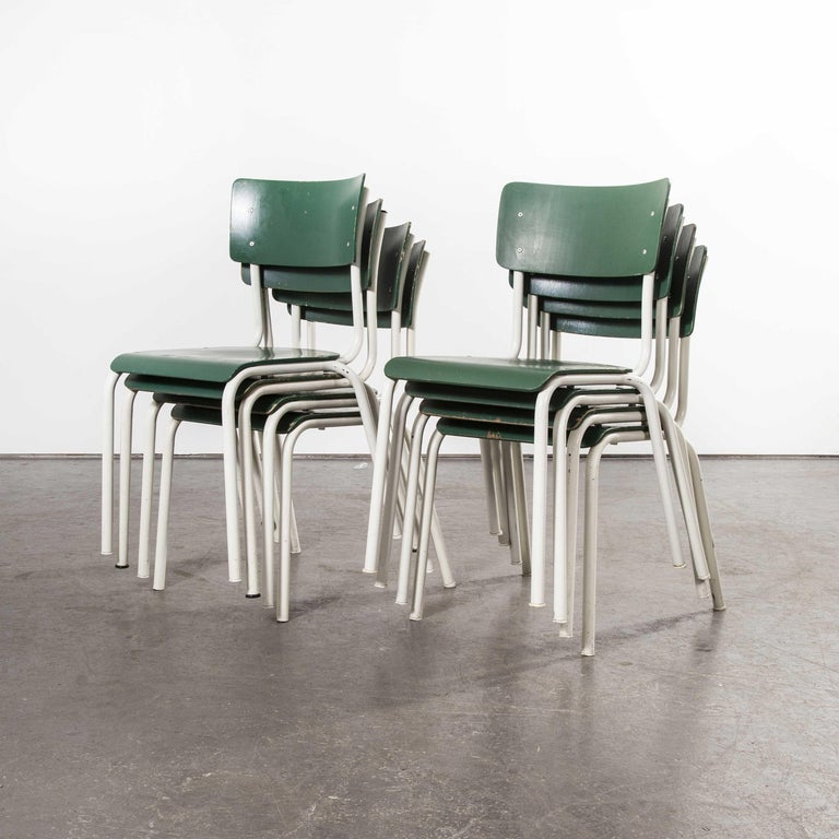 Bentwood 1970s Thonet Stacking Dining Chairs for the German Army, Green, Set of Eight For Sale