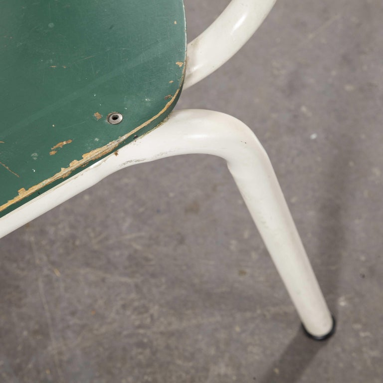 1970s Thonet Stacking Dining Chairs for the German Army, Green, Set of Eight For Sale 2