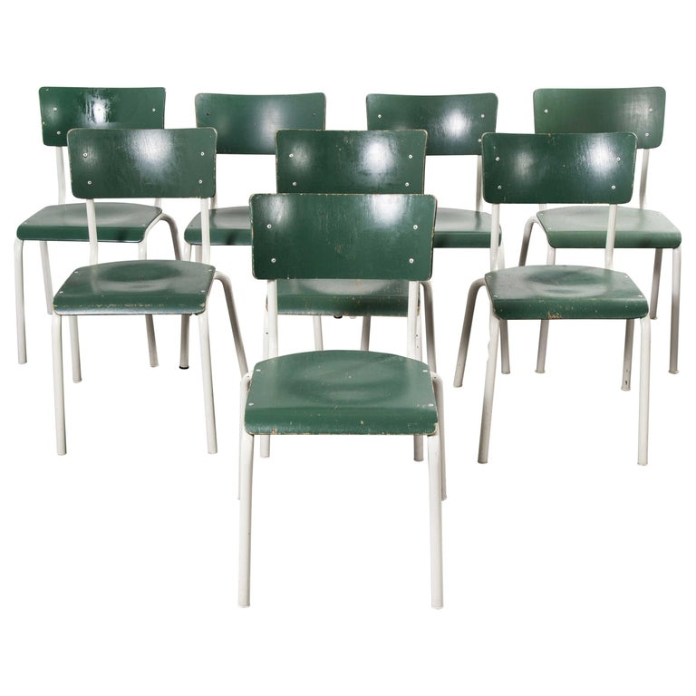 1970s Thonet Stacking Dining Chairs for the German Army, Green, Set of Eight For Sale