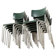 1970s Thonet Stacking Dining Chairs for the German Army, Green, Set of Twelve