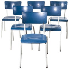 1970s Thonet Stacking Dining Chairs for the German Military, Blue, Set of Six