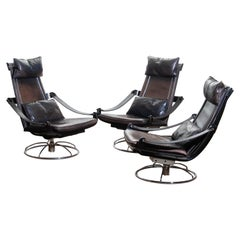 1970s, Three Leather Swivel / Relax Chairs By Ake Fribytter For Nelo, Sweden