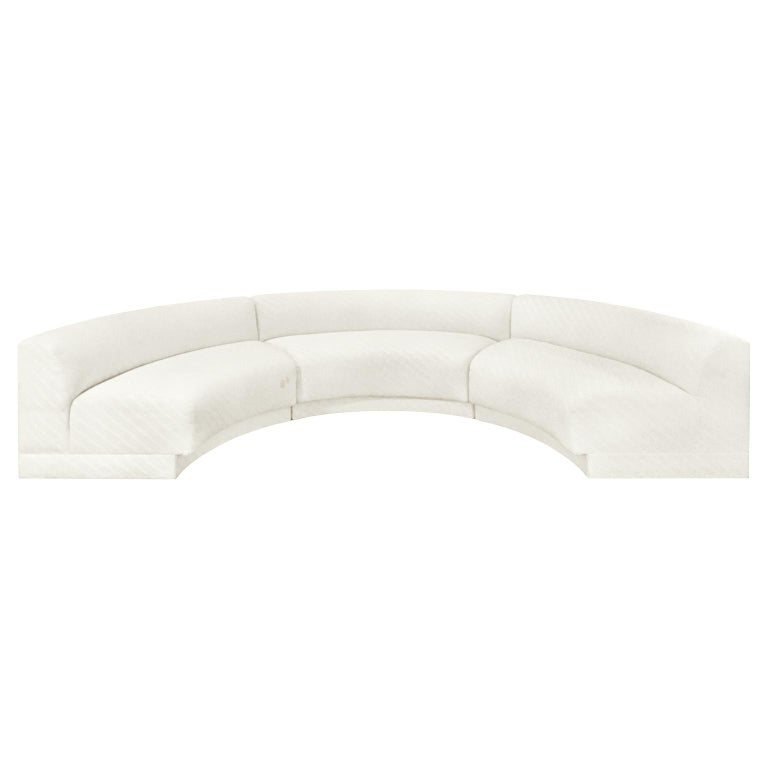 1970s Three-Piece Curved Sectional Sofa in Original Ivory Upholstery For Sale