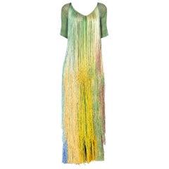 1970'S Tie Dye Ombre Crochet Fringe Dress Gown