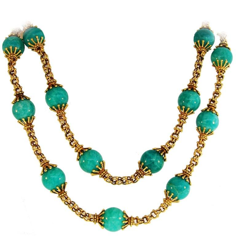 1970s Tiffany & Co. Amazonite Bead Yellow Gold Necklace