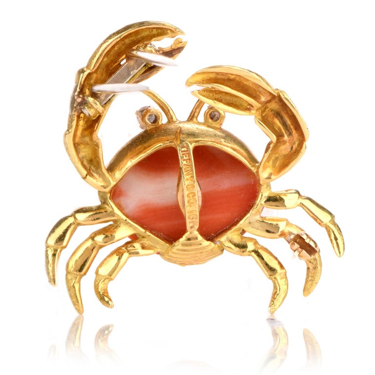 Women's or Men's 1970s Tiffany & Co. Diamond and Coral Crab Brooch 18 Karat For Sale