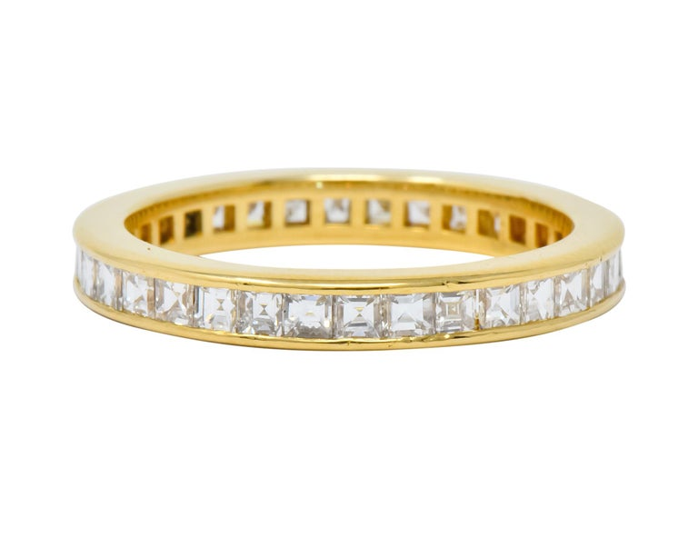 Contemporary 1970s Tiffany & Co. 1.20 Carat Diamond 18 Karat Gold Eternity Channel Band Ring For Sale
