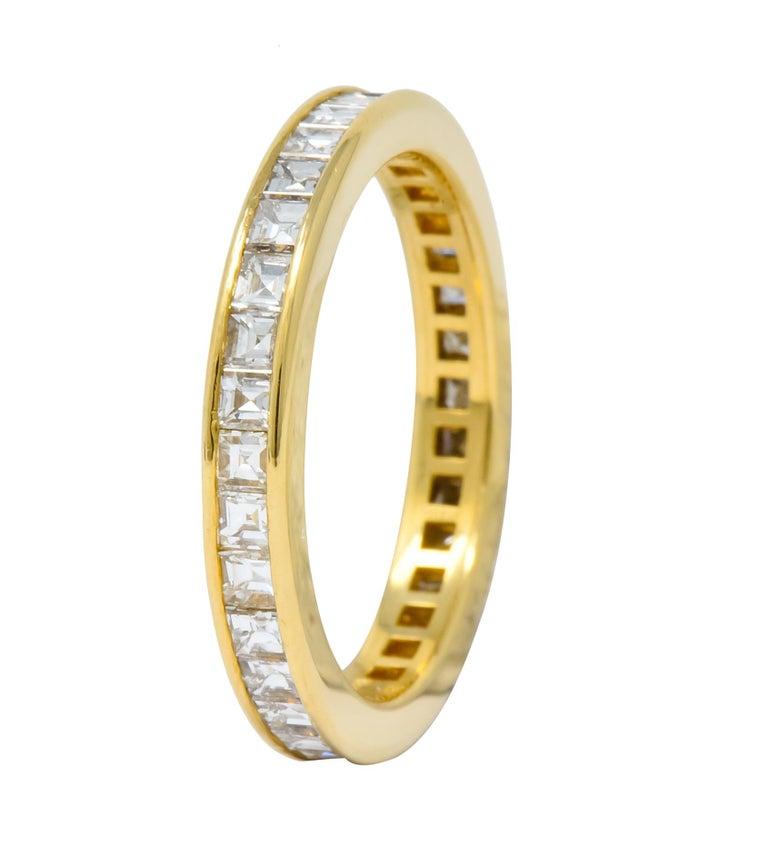 Women's or Men's 1970s Tiffany & Co. 1.20 Carat Diamond 18 Karat Gold Eternity Channel Band Ring For Sale
