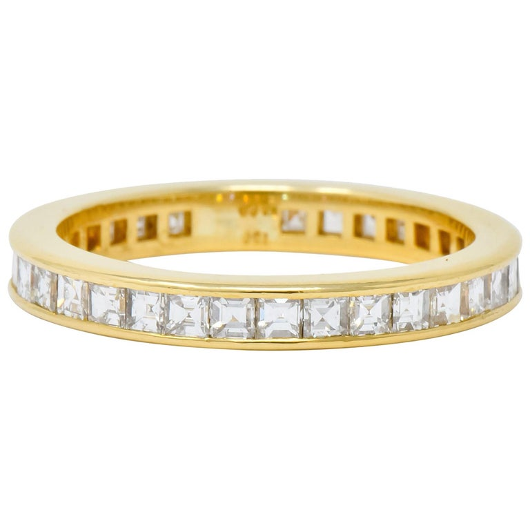 1970s Tiffany & Co. 1.20 Carat Diamond 18 Karat Gold Eternity Channel Band Ring For Sale
