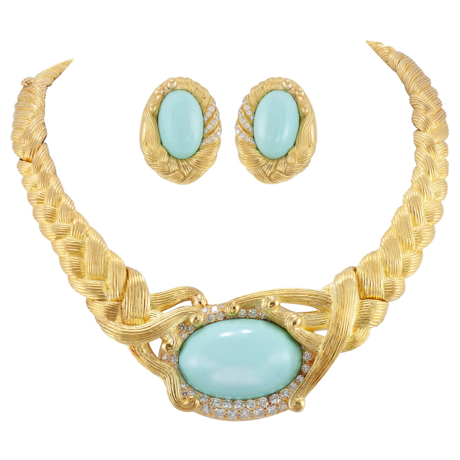 1970s Tiffany & Co Angela Cummings Collection Turquoise and Diamond Set