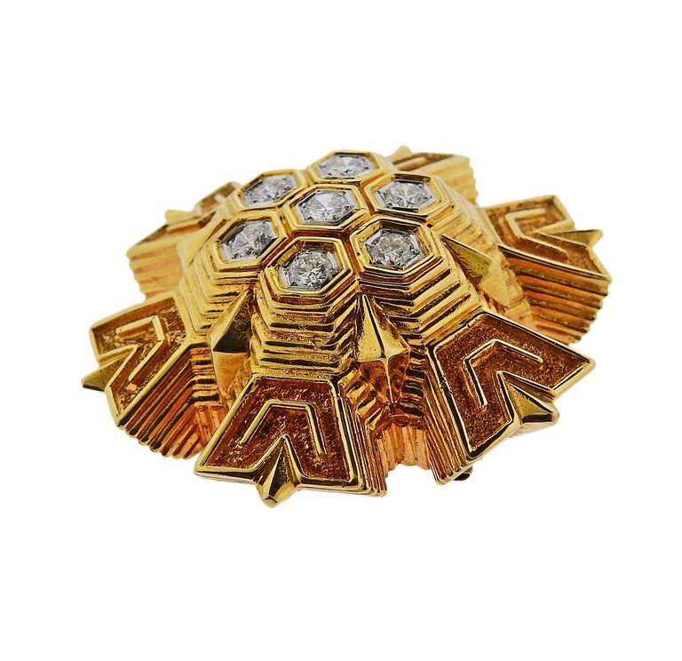 Women's or Men's 1970s Tiffany & Co. Diamond Gold Honeycomb Brooch Pendant For Sale