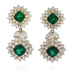 1970s Tiffany & Co. Emerald and Diamond 18k Yellow Gold Earrings