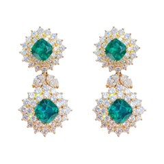 1970s Tiffany & Co. Emerald and Diamond 18k Yellow Gold Earrings