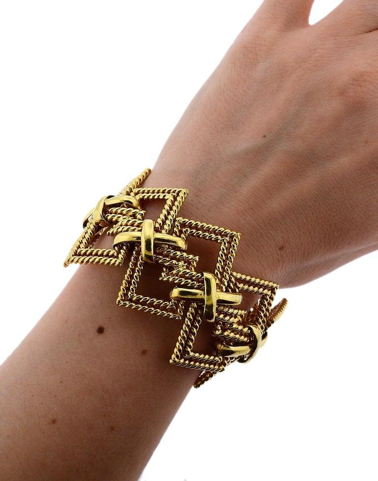 1970s Tiffany & Co. Gold Wide Bracelet For Sale 1