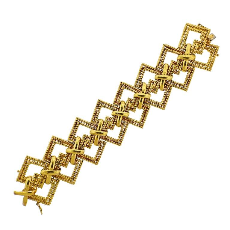 1970s Tiffany & Co. Gold Wide Bracelet For Sale